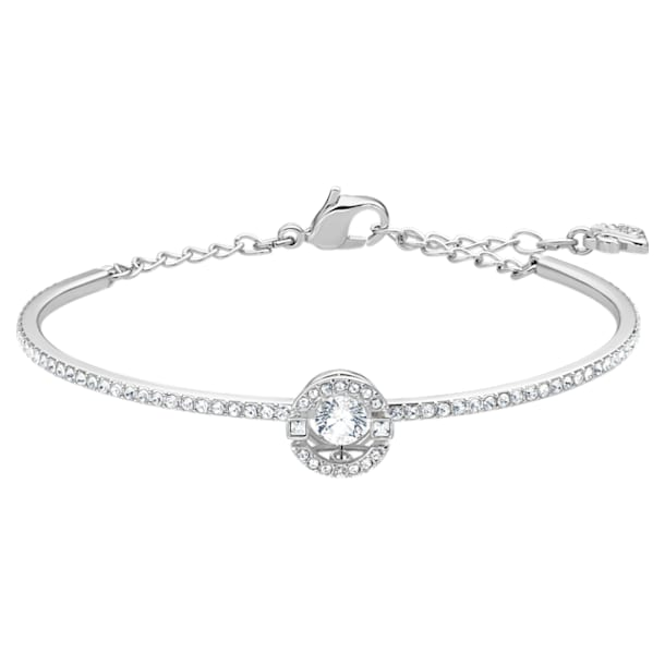 스와로브스키 Swarovski Sparkling Dance Bangle, White, Rhodium plated
