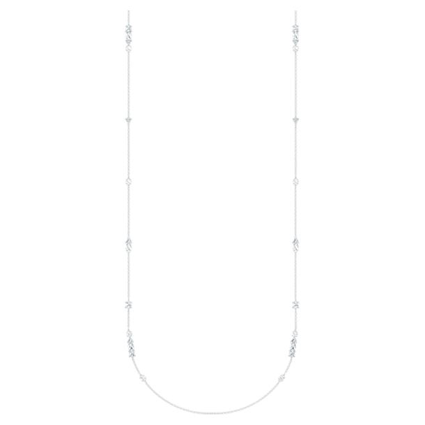 Tennis Deluxe Matinée-Kette, Kristalle in einem Mix aus Schliffen, Weiss, Rhodiniert - Swarovski, 5562083