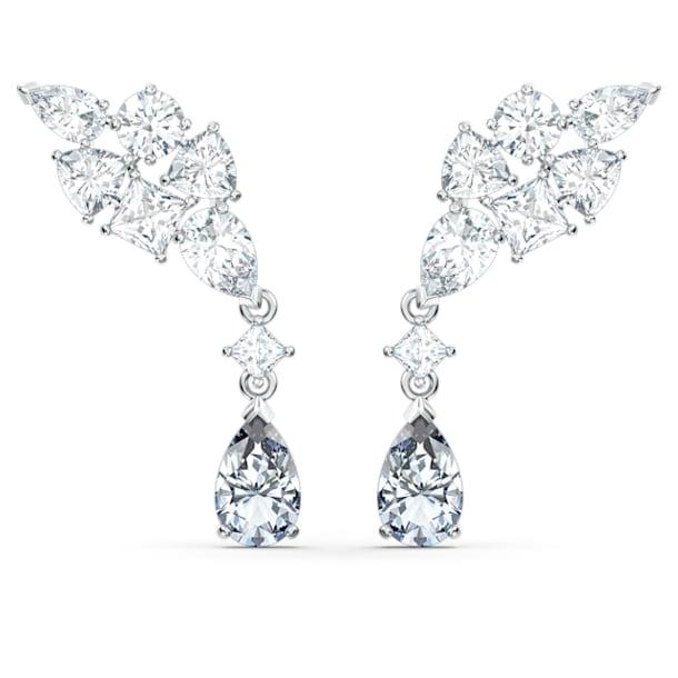 Tennis Deluxe earrings, Precision cut crystals, Grey, Rhodium plated - Swarovski, 5562086