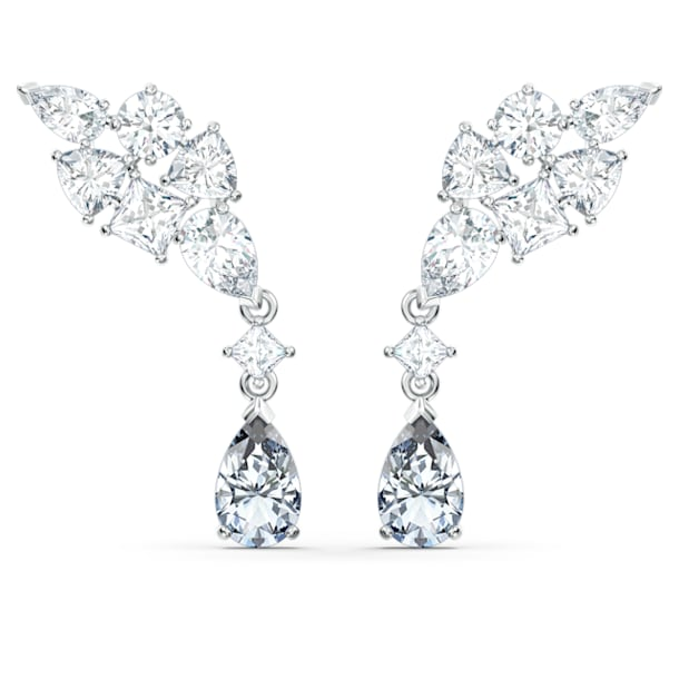 Tennis Deluxe oorbellen, Kristallen met verschillende slijpvormen, Grijs, Rodium toplaag - Swarovski, 5562086