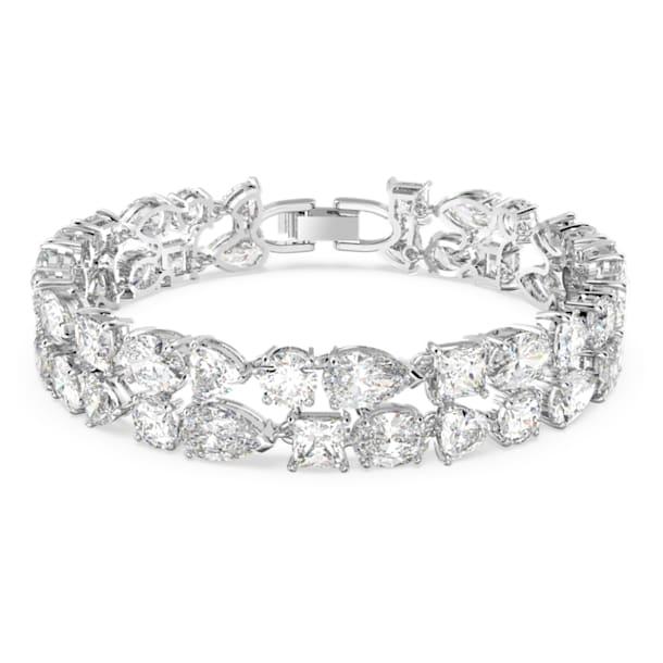 Tennis Deluxe armband , Kristallen met verschillende slijpvormen, Wit, Rodium toplaag - Swarovski, 5562088