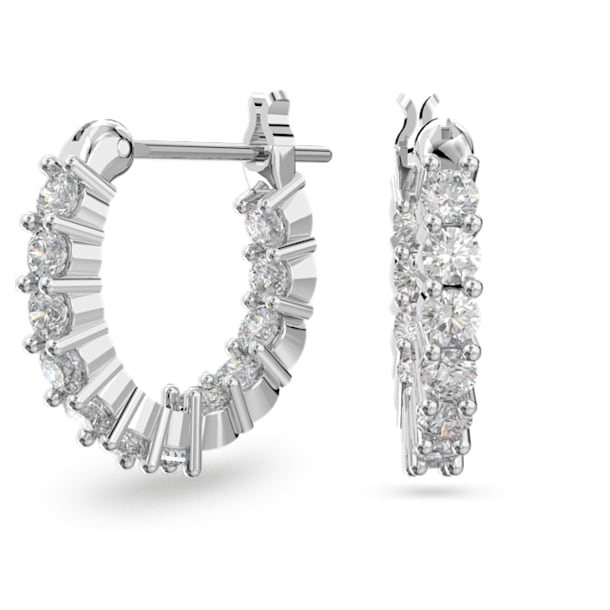 Vittore Mini Hoop Pierced Earrings, White, Rhodium plated - Swarovski, 5562126