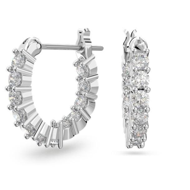 Vittore Mini 穿孔耳環, 白色, 鍍白金色 - Swarovski, 5562126