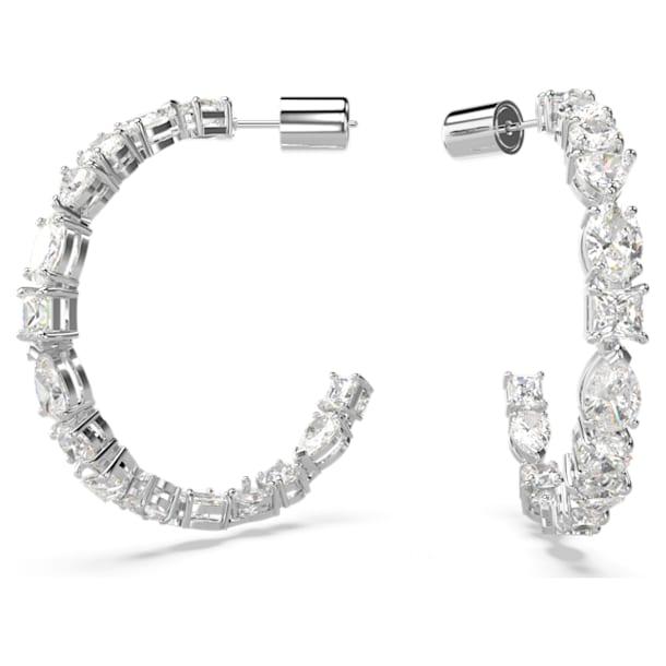 Tennis Deluxe Mixed Hoop Pierced Earrings, White, Rhodium plated - Swarovski, 5562128