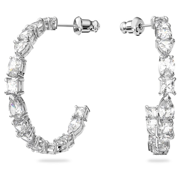 Tennis Deluxe Mixed Hoop Pierced Earrings, White, Rhodium plated - Swarovski, 5562128