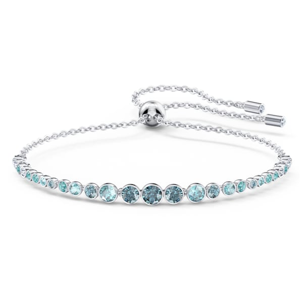 Emily bracelet, Graduated crystals, Blue, Rhodium plated - Swarovski, 5562130