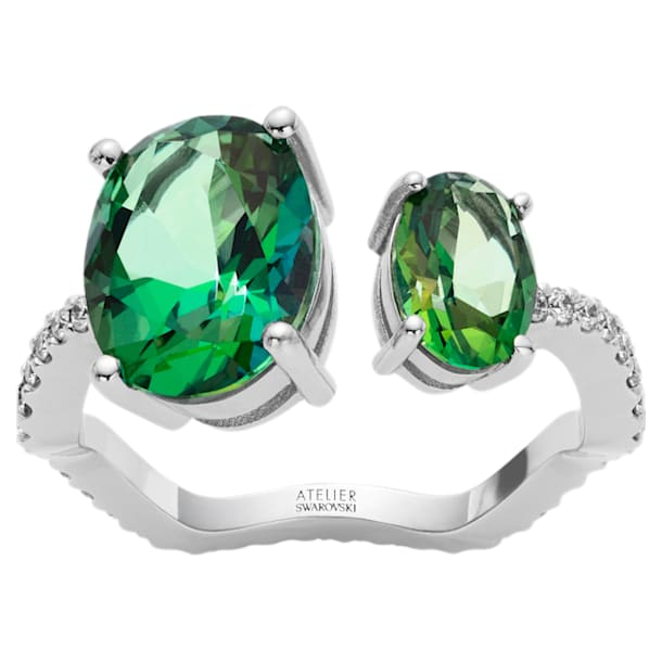 Arc-en-ciel Ring, Rainforest Green Topaz, 18K White Gold, Size 58 - Swarovski, 5562506