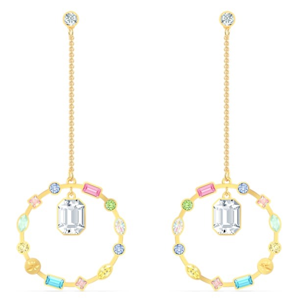 Rainbow Swan Chain Pierced Earrings, Multicolored, Gold-tone plated - Swarovski, 5562897