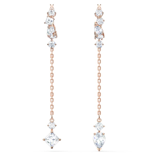 Attract Pierced Earrings, White, Rose-gold tone plated - Swarovski, 5563118