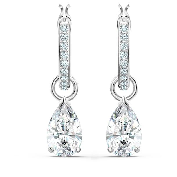 Attract hoop earrings, Pear cut crystal, White, Rhodium plated - Swarovski, 5563119
