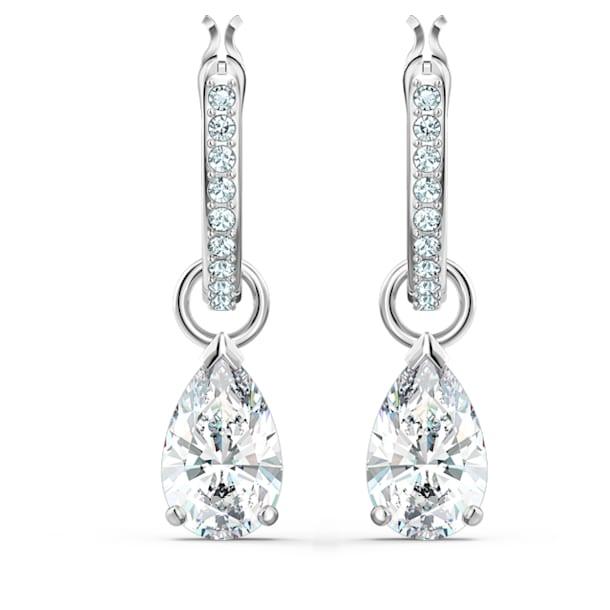 Attract Pear Mini Hoop Pierced Earrings, White, Rhodium plated - Swarovski, 5563119