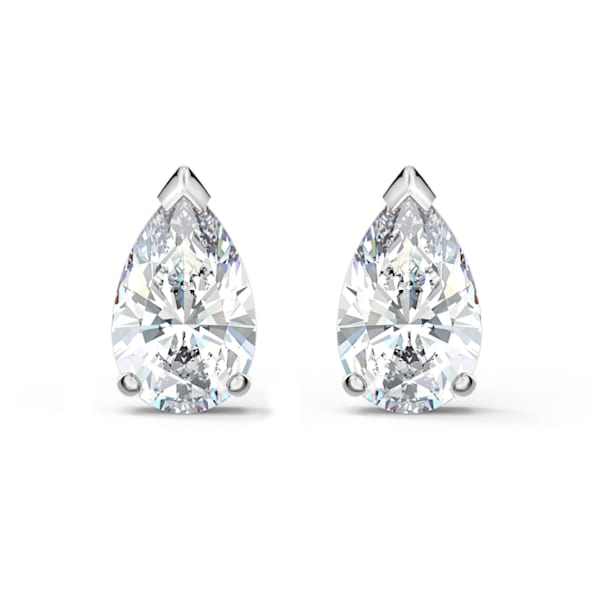Cercei stud Attract, Cristal cu tăietură în formă de pară, Alb, Placat cu rodiu - Swarovski, 5563121