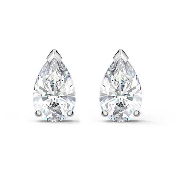 Pendientes de botón Attract, Cristal de talla de pera, Blanco, Baño de rodio - Swarovski, 5563121