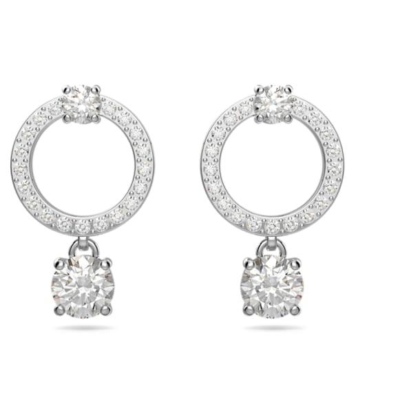 Attract earrings, Circular, White, Rhodium plated - Swarovski, 5563278