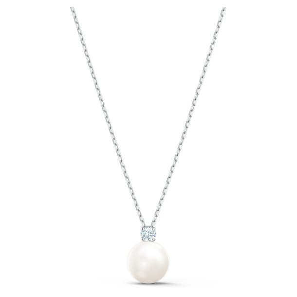 Treasure necklace, White, Rhodium plated - Swarovski, 5563288