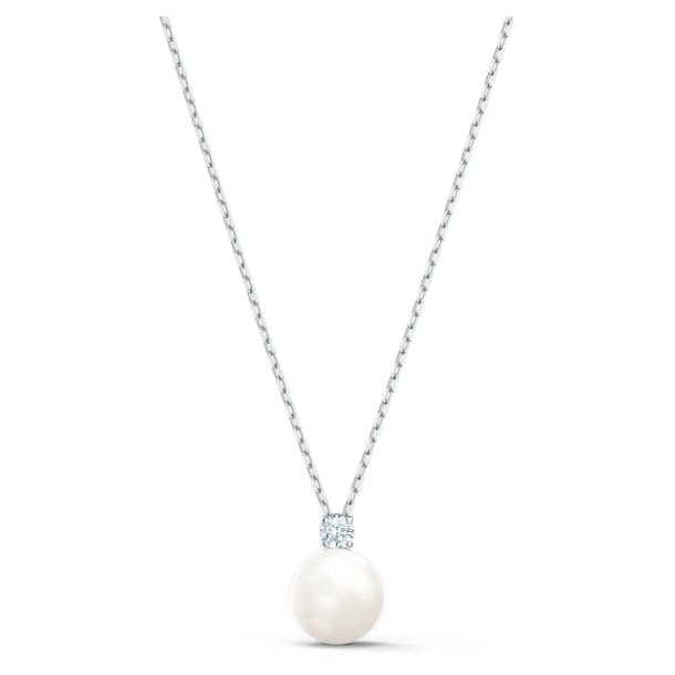 Treasure Pearl Necklace, White, Rhodium plated - Swarovski, 5563288