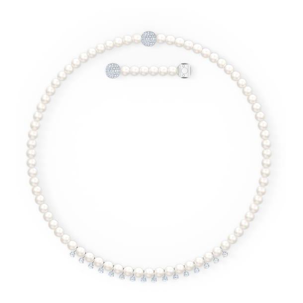 Treasure necklace, White, Rhodium plated - Swarovski, 5563289