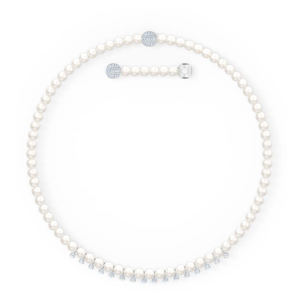Treasure Pearls Necklace, White, Rhodium plated - Swarovski, 5563289