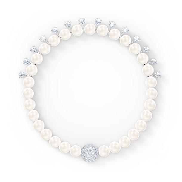 Μπρασελέ Treasure Pearls, λευκό, επιροδιωμένο - Swarovski, 5563291
