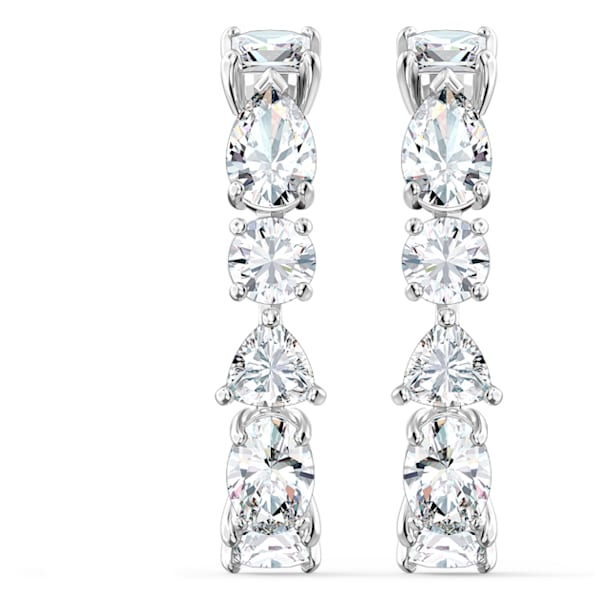Tennis Deluxe earrings, Precision cut crystals, White, Rhodium plated - Swarovski, 5563322