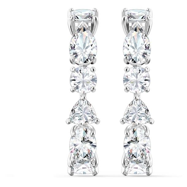 Tennis Deluxe oorbellen, Kristallen met verschillende slijpvormen, Wit, Rodium toplaag - Swarovski, 5563322