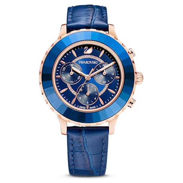 Octea Lux Chrono horloge, Lederen band, Blauw, Roségoudkleurig PVD - Swarovski, 5563480