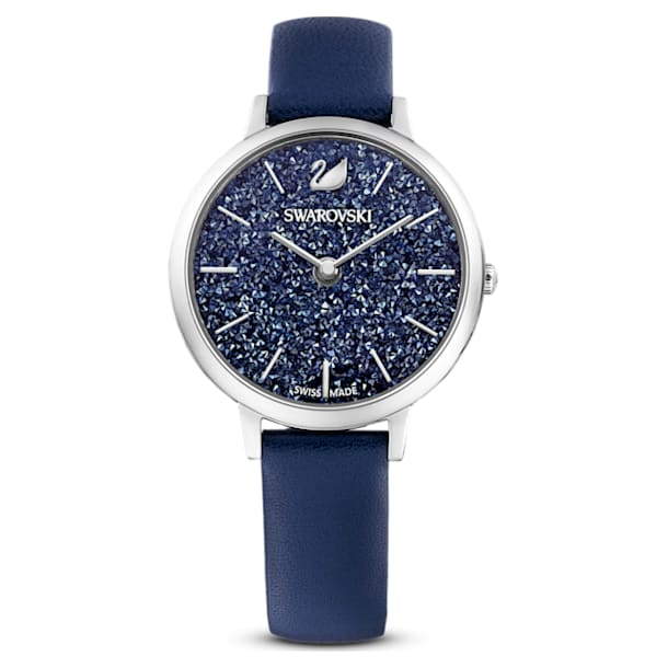 Crystalline Joy Watch , Leather strap, Blue, Stainless steel - Swarovski, 5563699
