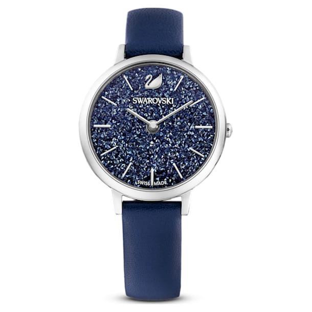Crystalline Joy watch, Leather strap, Blue, Stainless steel - Swarovski, 5563699