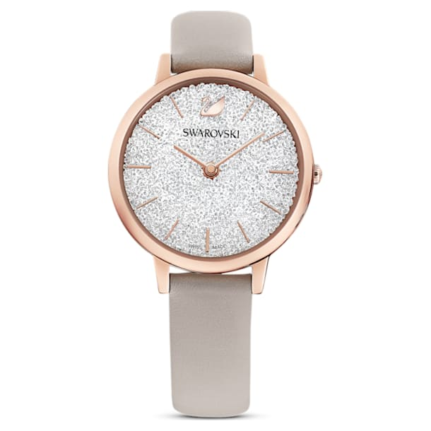 Crystalline Joy Watch, Leather strap, Gray, Rose-gold tone PVD - Swarovski, 5563702