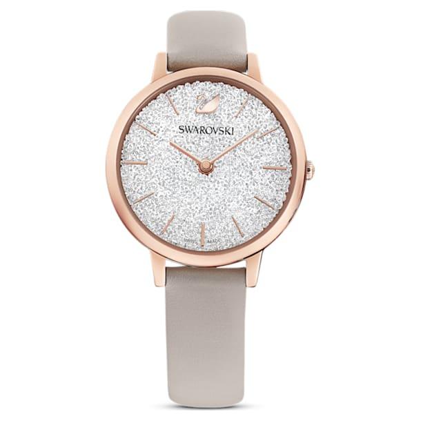 Montre Crystalline Joy, bracelet en cuir, Gris, PVD doré rose - Swarovski, 5563702