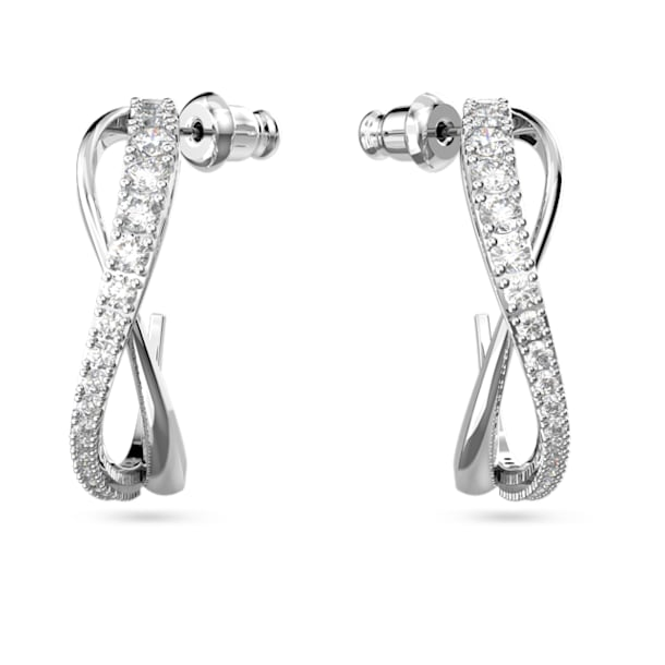 Τρυπητά σκουλαρίκια κρίκοι Twist, λευκά, επιροδιωμένα - Swarovski, 5563908