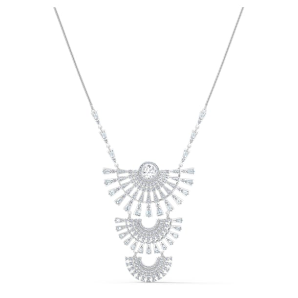 Swarovski Sparkling Dance Dial Up Necklace, Large, White, Rhodium plated - Swarovski, 5564432
