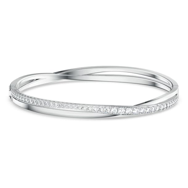 Twist bangle, White, Rhodium plated - Swarovski, 5565210
