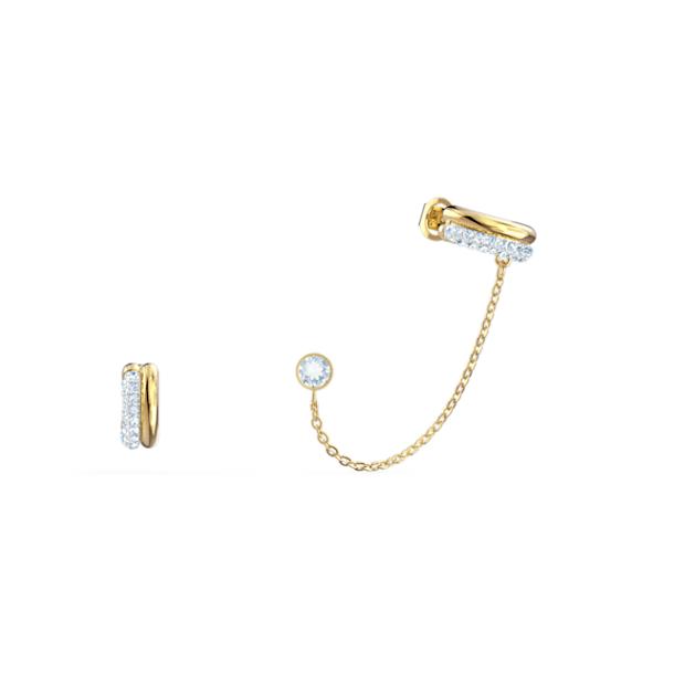 Kolczyki sztyftowe z nausznicami Time, białe, różnobarwne metale - Swarovski, 5566005