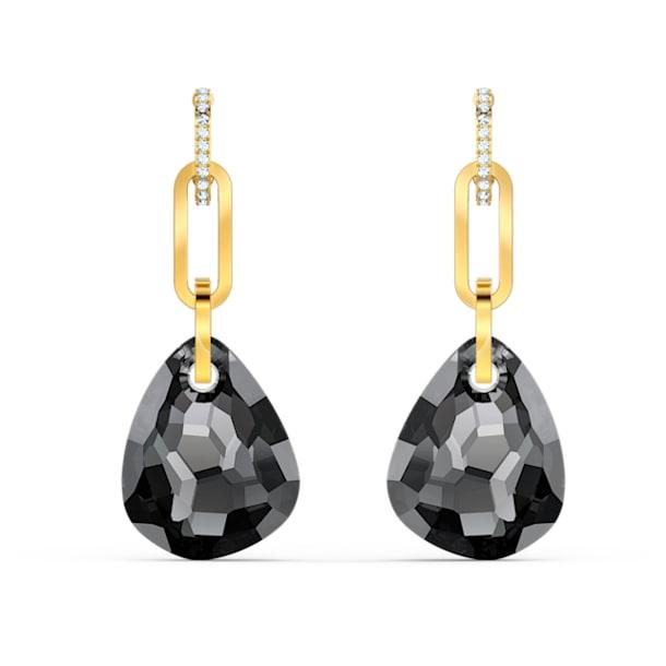 T Bar Pierced Earrings, Medium, Grey, Gold-tone plated - Swarovski, 5566148