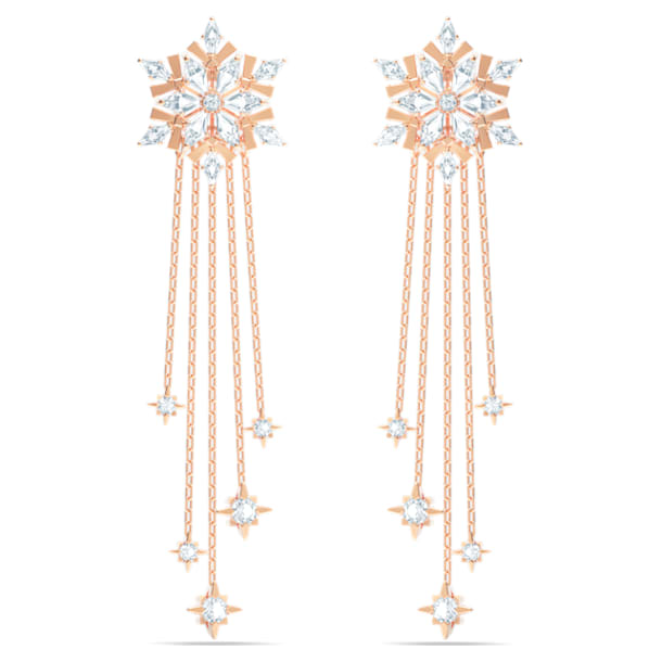 Magic Pierced Earrings, White, Rose-gold tone plated - Swarovski, 5566674