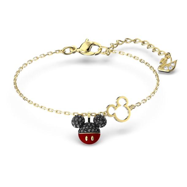 Mickey-armband, Zwart, Goudkleurige toplaag - Swarovski, 5566689