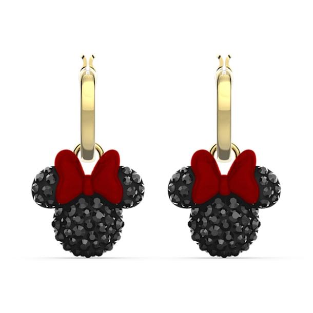 Minnie Hoop Pierced Earrings, Black, Gold-tone plated - Swarovski, 5566692
