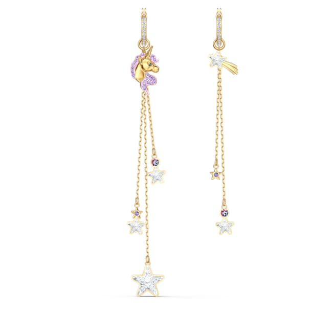Out of this World Unicorn Pierced Earrings, Purple, Gold-tone plated - Swarovski, 5566744