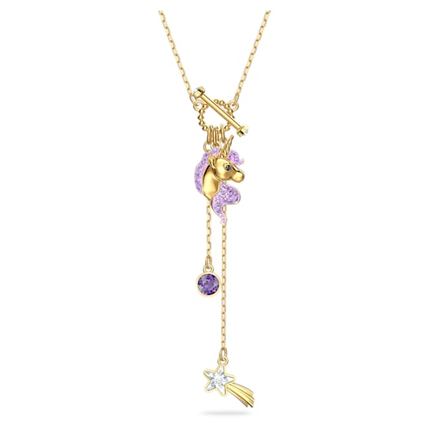 Out of this world Y necklace, Unicorn, Purple, Gold-tone plated - Swarovski, 5566745