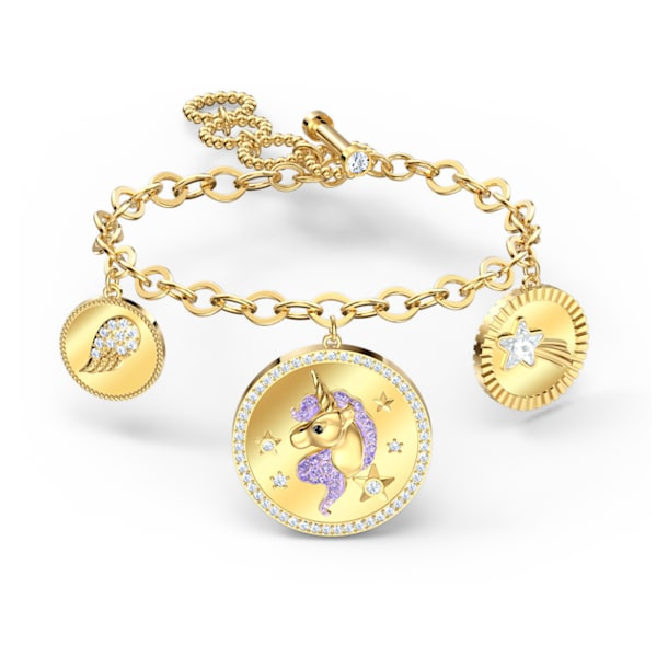 Out of this World Unicorn Bracelet, Medium, Purple, Gold-tone plated - Swarovski, 5566746