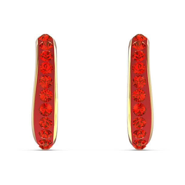 The Elements Hoop Pierced Earrings, Red, Gold-tone plated - Swarovski, 5567358