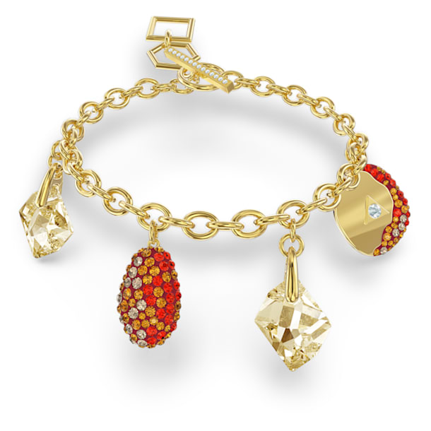 The Elements-armband, Rood, Goudkleurige toplaag - Swarovski, 5567361
