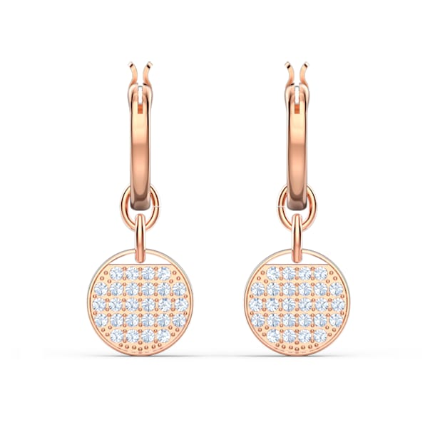 Ginger Mini Hoop Pierced Earrings, White, Rose-gold tone plated - Swarovski, 5567528