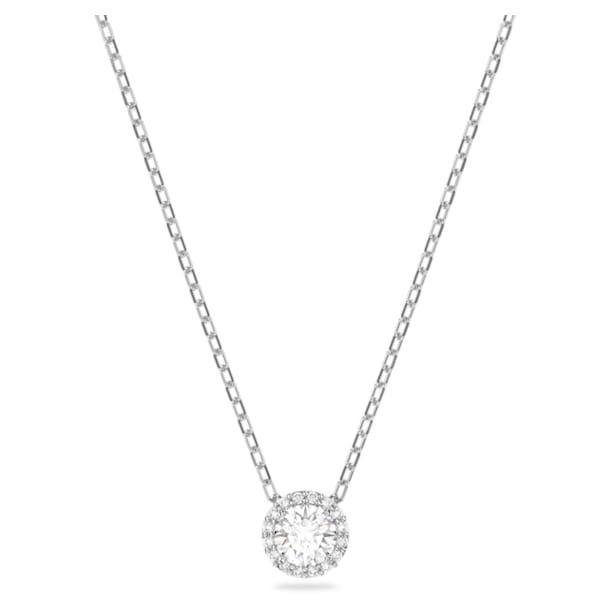 Στρογγυλό μενταγιόν Angelic, λευκό, επιροδιωμένο - Swarovski, 5567931