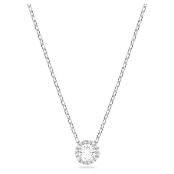 Angelic pendant, Round, White, Rhodium plated - Swarovski, 5567931