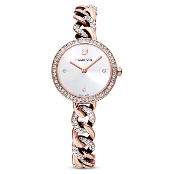 Cocktail Round watch, Metal bracelet, Rose gold tone, Rose-gold tone PVD - Swarovski, 5567952