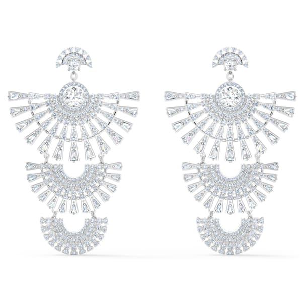 Swarovski Sparkling Dance Dial Up 穿孔耳环, 大码 , 白色, 镀铑 - Swarovski, 5568008
