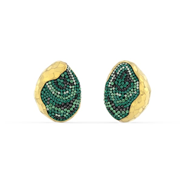 The Elements Clip Earrings, Green, Gold-tone plated - Swarovski, 5568265
