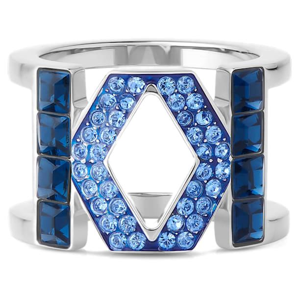 Karl Lagerfeld Logo 戒指, 蓝色, 镀钯 - Swarovski, 5568606